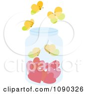 Clipart Jar With Hearts And Butterflies Royalty Free Vector Illustration