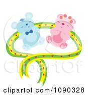 Teddy Bear Couple With A Green And Yellow Heart Ribbon