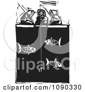 Clipart Inuit Eskimos Ice Fishing Black And White Woodcu Royalty Free Vector Illustration by xunantunich