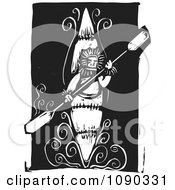 Clipart Kayaker Holding A Paddle Black And White Woodcut Royalty Free Vector Illustration