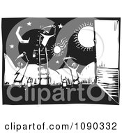 Clipart Children Painting A Celestial Wall Mural Black And White Woodcut Royalty Free Vector Illustration