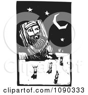 Clipart People Dancing Around A Giant Statue Under The Stars Black And White Woodcut Royalty Free Vector Illustration