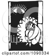 Clipart Sad Person Curled Up In A Window With An Eye Black And White Woodcut Royalty Free Vector Illustration