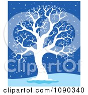 Clipart Silhouetted White Bare Tree In The Snow On Blue Royalty Free Vector Illustration