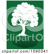 Clipart Lush White Tree Silhouette And Reflection On Green Royalty Free Vector Illustration