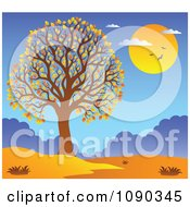 Clipart Tree With Fall Foliage And An Autumn Landscape Royalty Free Vector Illustration