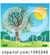 Clipart Blossoming Tree In A Spring Landscape Royalty Free Vector Illustration