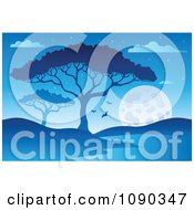 Clipart Blue African Night Landscape With A Tree And Watering Hole Royalty Free Vector Illustration by visekart