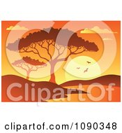 Clipart Orange African Dawn Or Sunset With A Tree And Watering Hole Royalty Free Vector Illustration