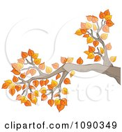 Clipart Tree Branch With Autumn Leaves Royalty Free Vector Illustration