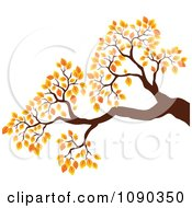 Clipart Tree Branch With Autumn Foliage Royalty Free Vector Illustration