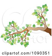 Clipart Tree Branch With Green Spring Foliage Royalty Free Vector Illustration