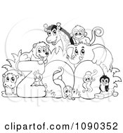 Clipart Outlined Animals Around The Word Zoo Royalty Free Vector Illustration by visekart #COLLC1090352-0161