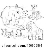 Clipart Outlined Rhino Meerkat Lizard Flamingo And Gorilla Zoo Animals Royalty Free Vector Illustration by visekart