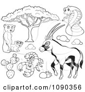 Clipart Outlined Meerkat Scorpion Cobra And Gazelle Savannah Wildlife Royalty Free Vector Illustration by visekart