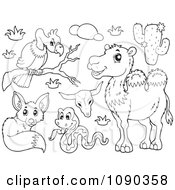 Clipart Outlined Vulture Snake Fox And Camel Desert Animals Royalty Free Vector Illustration by visekart