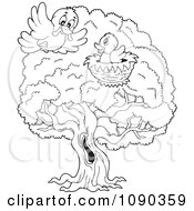 Clipart Outlined Birds In A Tree Nest One Delivering A Worm Royalty Free Vector Illustration by visekart