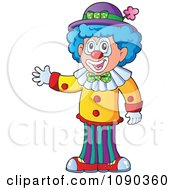 Clipart Male Clown Waving Royalty Free Vector Illustration