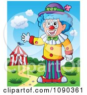 Clipart Male Clown Waving Near A Big Top Royalty Free Vector Illustration