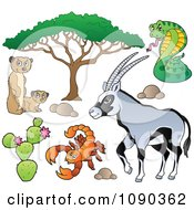 Clipart Meerkat Scorpion Cobra And Gazelle Savannah Animals Royalty Free Vector Illustration