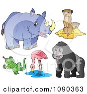 Clipart Rhinoceros Meerkat Lizard Flamingo And Gorilla Zoo Animals Royalty Free Vector Illustration by visekart