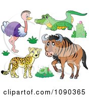 Clipart Cheetah Ostrich Crocodile And Wildebeest Savannah Animals Royalty Free Vector Illustration by visekart