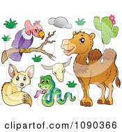 Clipart Vulture Snake Fox And Camel Desert Animals Royalty Free Vector Illustration by visekart