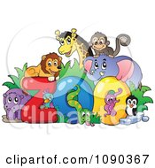 Clipart Animals Around The Word Zoo Royalty Free Vector Illustration by visekart