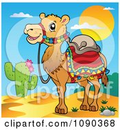 Clipart Desert Camel With Saddlery Royalty Free Vector Illustration