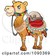 Clipart Saddled Camel Royalty Free Vector Illustration