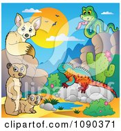 Clipart Desert Fox Snake Meerkats And Lizard By A Watering Hole Royalty Free Vector Illustration by visekart
