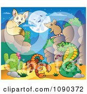 Clipart Desert Fox Scorption Snake And Mouse At Nigh Royalty Free Vector Illustration