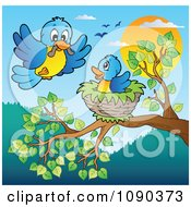 Clipart Blue Bird Delivering A Worm To A Young One In A Tree Nest Royalty Free Vector Illustration by visekart