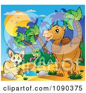 Clipart Desert Fox Snake And Camel By A Watering Hole Royalty Free Vector Illustration by visekart