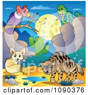 Clipart Desert Vulture Fox Snake And Hyena By A Watering Hole At Night Royalty Free Vector Illustration