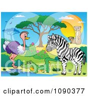 Clipart Crocodile Ostrich Zebra And Meerkat Watering Hole Savannah Animals Royalty Free Vector Illustration by visekart