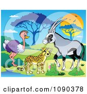 Clipart Cheetah Ostrich And Gazelle Savannah Animals By A Watering Hole Royalty Free Vector Illustration by visekart