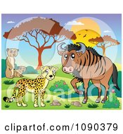 Clipart Cheetah Meerkat And Wildebeest Savannah Animals At Sunset Royalty Free Vector Illustration by visekart