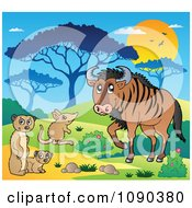 Clipart Meerkat Mouse And Wildebeest Savannah Animals Royalty Free Vector Illustration by visekart