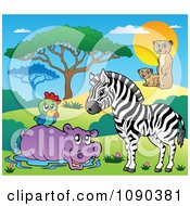 Clipart Wading Hippo Parrot Zebra And Meerkat Savannah Animals Royalty Free Vector Illustration by visekart