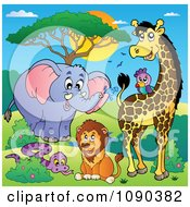 Clipart Squirting Elephant Parrot Giraffe Lion And Snake Savannah Animals Royalty Free Vector Illustration by visekart