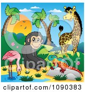 African Animals A Flamingo Monkey Lizard And Giraffe By A Pond
