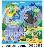 Clipart African Animals A Gorilla Rhino And Meerkats By A Pond Royalty Free Vector Illustration by visekart