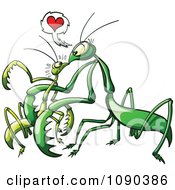 Clipart Female Praying Mantis Luring In Her Male Victim With Love Royalty Free Vector Illustration