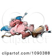 Clipart Cupid Murdered By His Own Arrow Royalty Free Vector Illustration