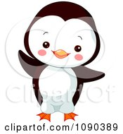 Clipart Cute Baby Zoo Penguin Dancing Royalty Free Vector Illustration