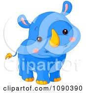Clipart Cute Blue Baby Zoo Rhino Smiling Royalty Free Vector Illustration