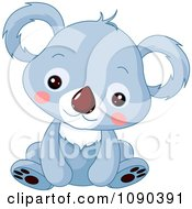 Clipart Cute Blue Baby Zoo Koala Sitting Royalty Free Vector Illustration by Pushkin
