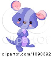 Clipart Cute Purple Baby Zoo Kangaroo Smiling Royalty Free Vector Illustration by Pushkin