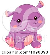 Clipart Cute Purple Baby Zoo Hippo Sitting Royalty Free Vector Illustration by Pushkin